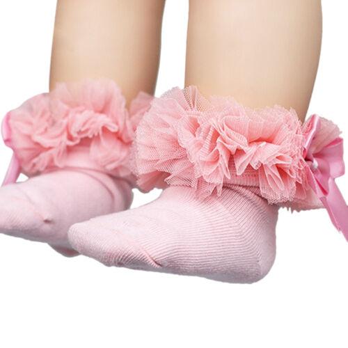 Beauty Baby Kids Girls Lace Ruffle Frilly Ankle Sock Princess Cotton Short Socks