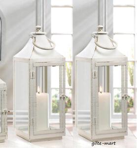 2 Large White 17 Tall Distressed Shabby Whitewashed Candle Holder
