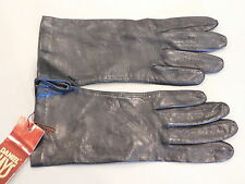 Lambert B236 Black Keystone Clute Angora Goatskin Leather Gloves Ladies Sz 7 USA