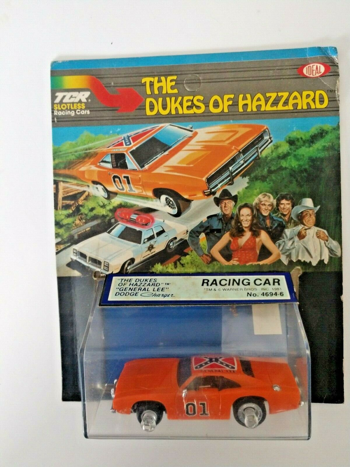 IDEAL TOY THE DUKES OF HAZZARD GENERAL LEE SLOTLESS RACING CAR  4694-6 UNPUNCHED