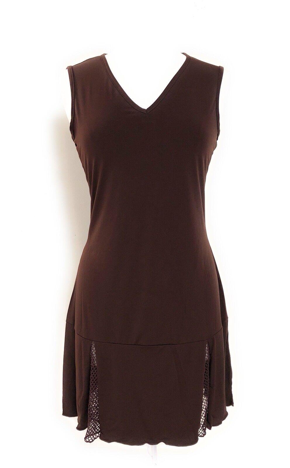 Jordan Taylor Damen Braune Netz Rand Strandbedeckung Bademode Tunika Kleid Nwt