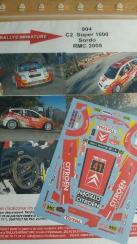 DECALS 1//24 REF 904 CITROEN C2 S1600 SORDO RALLYE MONTE CARLO 2005 RALLY WRC