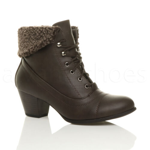 WOMENS LADIES MID HEEL LACE UP VINTAGE FUR CUFF WINTER PIXIE ANKLE BOOTS SIZE