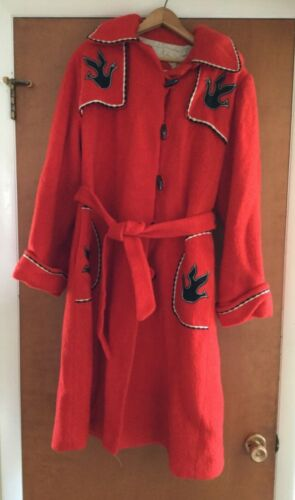 Women's Vintage Hudson Bay Coat Red Wool Long Coat