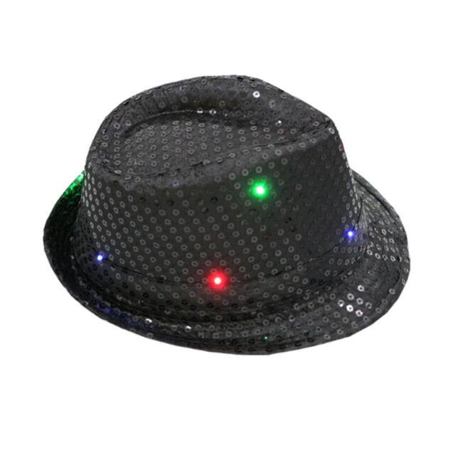9ff7c670c89e4 Flashing Light up LED Fedora Trilby Sequin Unisex Fancy Dress Dance ...