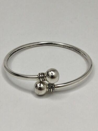 Macy/'s Solid Sterling Silver Bangle Bracelet 10 mm boule design fin neuf sans étiquette