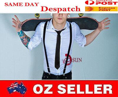 Considerate Boy Teenage Black Braces Elastic Suspenders Necktie Neck Tie 7-14 Years Old High Standard In Quality And Hygiene