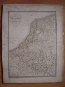 Très grande CARTE de la BELGIQUE et HOLLANDE Pays-Bas Dressée par Lapie en 1833 - France - Type: Gravure Thme: Carte géographique - France