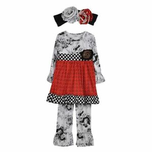 NWT-Girl-size-2-STUNNING-3-Piece-BOUTIQUE-Red-Black-RUFFLED-Outfit-with-HeadBand