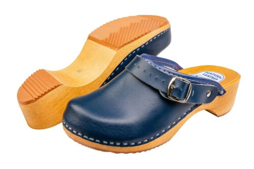 Women/'s Fashion Clogs Navy Blue Slip On Leather House Shoes Ladies Mules 3-8