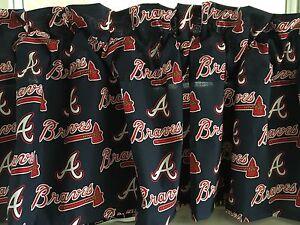 Image Is Loading NEW MLB Atlanta Braves Baseball Sports Valance Curtain