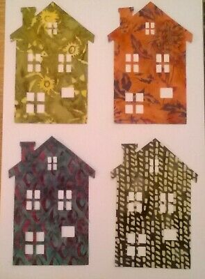 Batik Townhouse Houses fabric Pack remnants patchwork bundle 100/%cotton