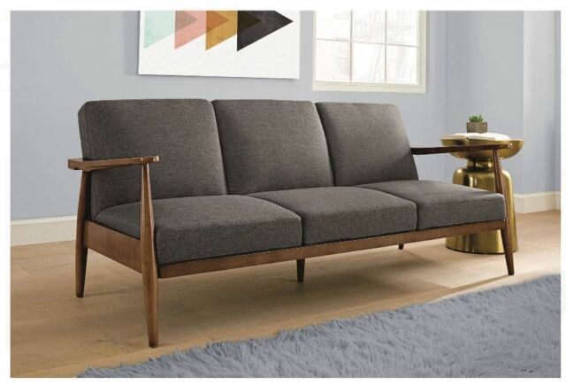 Futon Sleeper Sofa Grey Mid Century Modern Convertible Couch Lounge Chair  Bed