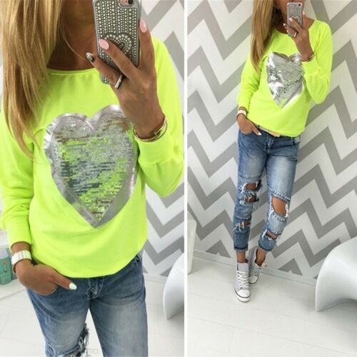 Fashion Women/'s Heart Glitter Long Sleeve Shirt Tops Casual Blouse Loose T-Shirt