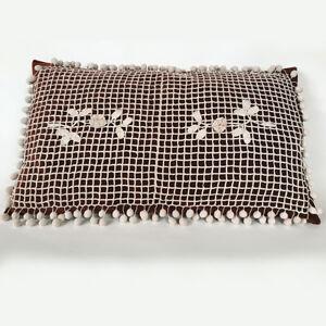 Details About Grand Coussin En Velours Couleur Lie De Vin Et Crochet Ancien A Pompons