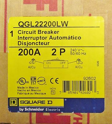 SQUARE D Type QGL Circuit Breaker 2 Pole 200 Amp QGL22200LW New In Box!!