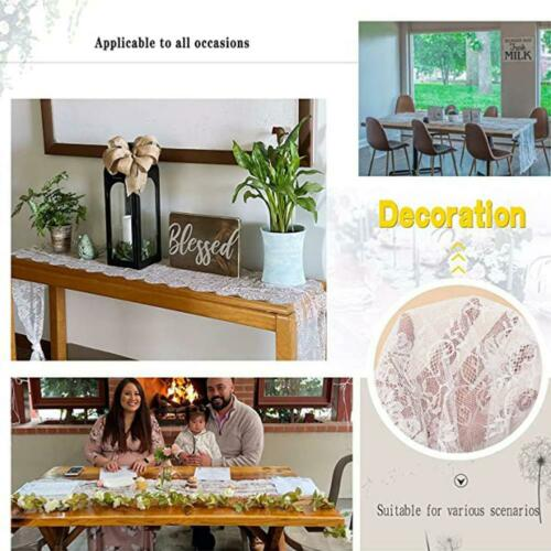 White//Black Lace Floral Table Runner Boho Wedding Tablecloth Banquet Home Decor