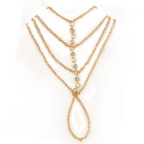 Celebrity Multi Chain Tassel Bracelet Bangle Finger Ring and Harness Gold Slave