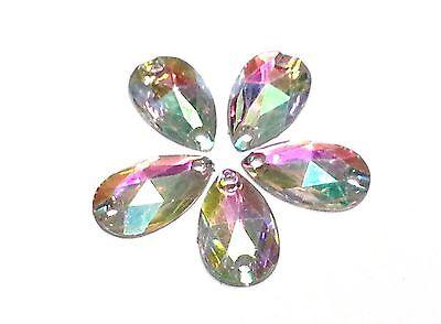 250 x AB CLEAR PEAR 18*10mm RESIN Sew On DIAMANTE Rhinestone Crystal Gems