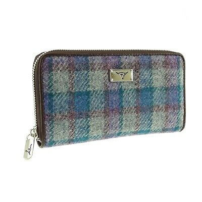 Ladies Long Zip Purse Authentic Harris Tweed Purple Check LB2100 COL 51