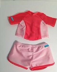 American-Girl-Doll-CLOTHES-SWIM-SHIRT-amp-SHORTS-SET-NEW-in-PKG-Coral