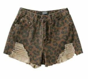 leopardo del strappato jeans foro del dei modo signore delle Usura bicchierini dei stampati sexy denim di qTwZYpS