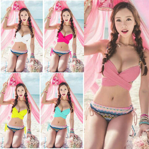 Sexy Lady Cute Multi-Way Push-up Padded Bra Bandage Bikini SET Swimsuit Bathing