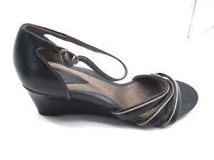Clarks-Artisan-40-9M-black-wedges-womens-ladies-comfort-sandals-heel-shoes-84256