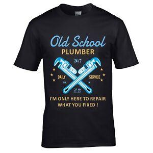 Divertente-Novita-Vecchia-Scuola-Idraulico-T-Shirt-Uomo-Top-Regalo-Termico