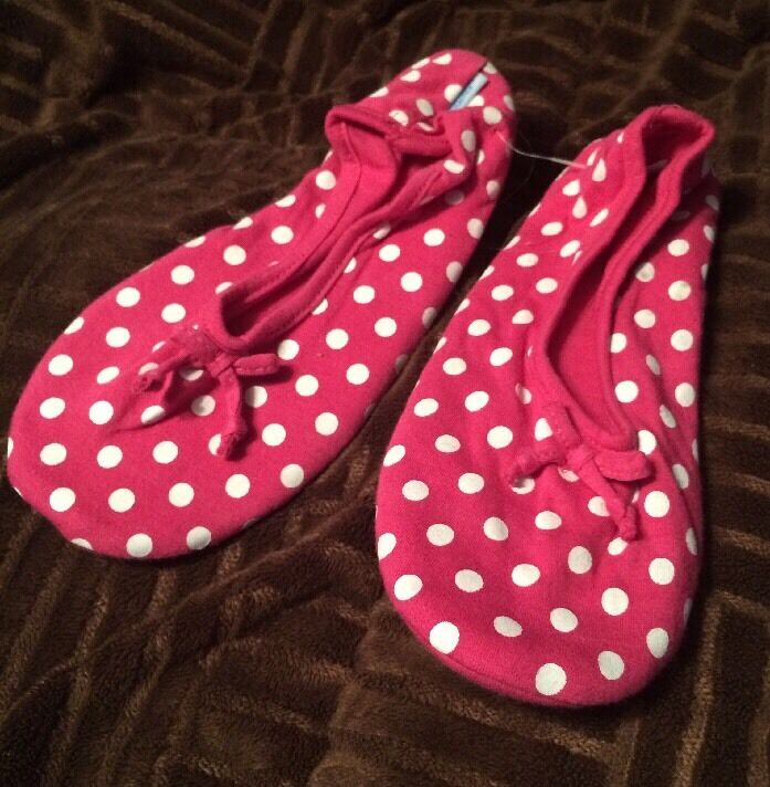 SNOOZIES Ballet Flat House Slippers POLKA  Small 5-6 PINK POLKA Slippers DOTS Spot non skid cd0dc7