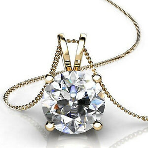 3-0-Ct-Round-Cut-14K-Yellow-Gold-Solitaire-Pendant-Necklace-Box-With-18-034-Chain