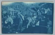 Pack Mules at Railroad Depot AMES Colorado RPPC Train Station Cyanotype Photo