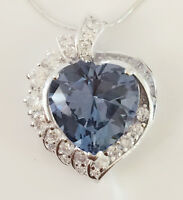 925 Sterling Silver Aqua Blue Cz Titanic Style Heart Charm Pendant & Necklace