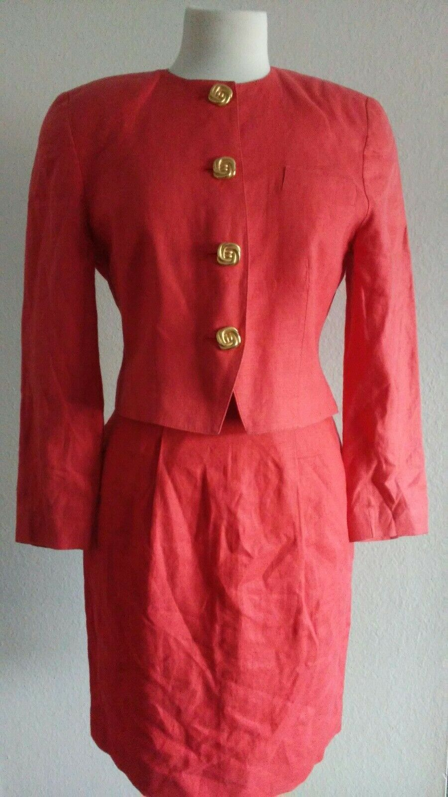 Valerie Stevens Petite Women's orange Blazer Skirt Suit Sz 4P
