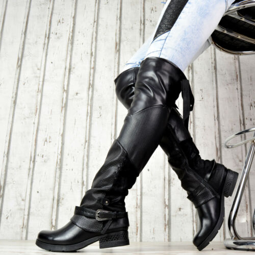 Overknee Nieten Neu Schuhe Stiefel GefüttertEbay Schnallen Boots Damen Biker uPiOXZk