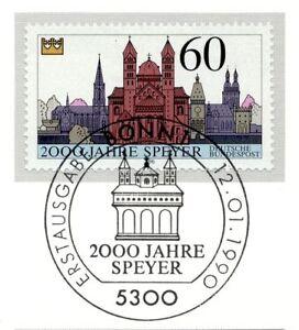 Charitable Rfa 1990: Speyer 2000 Jahrfe! Nr 1444 Avec Bonner Ersttags-cachet Spécial! 1 A 1812-rstempel! 1a 1812fr-fr Afficher Le Titre D'origine