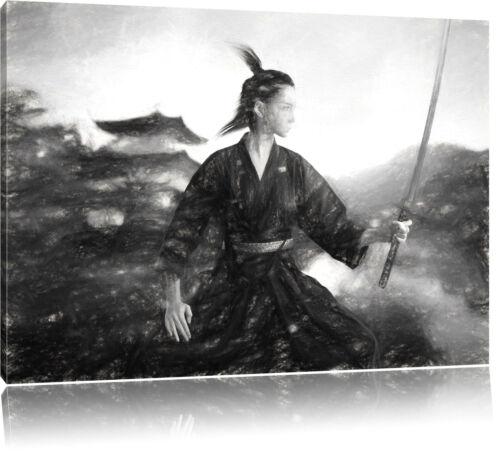 Samurai-guerrière en tempête de neige art charbon effet toile déco kunstd