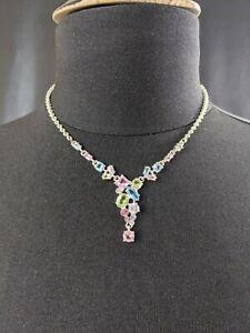 Lovely-Vintage-Faux-Amethyst-Topaz-Peridot-Necklace-by-Napier-Jewellery