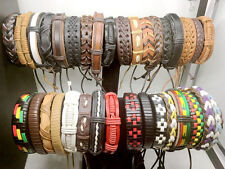 50pcs Genuine Handmade Leather Bracelets for Men and Women Jewelry Wholesale lot