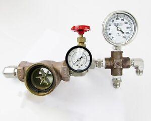 Psi-Presion-amp-Termometro-Montaje-con-Doble-Visor-Flujo-amp-160PSI-Valvula