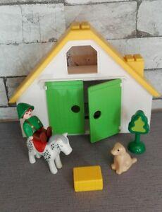 Playmobil 123 Ferme Bâtiment cheval fermier botte de paille chien et arbre