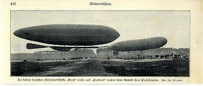 """Brave Probefahrt Der Beiden Deutschen Militärluftschiffe """"groß"""" U.""""parseval"""" Von 1908 Chills And Pains Luftfahrt & Zeppelin"""