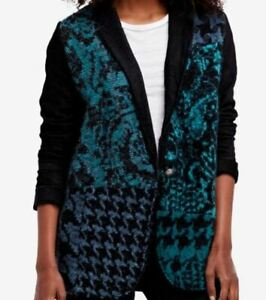 Women-039-s-NWT-Free-People-Blue-amp-black-cardigan-size-M
