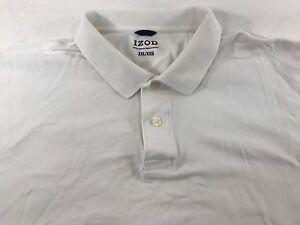 MINT-IZOD-SHORT-SLEEVE-MEN-039-S-GOLF-POLO-SHIRT-SOLID-WHITE-100-COTTON-Sz-2XL