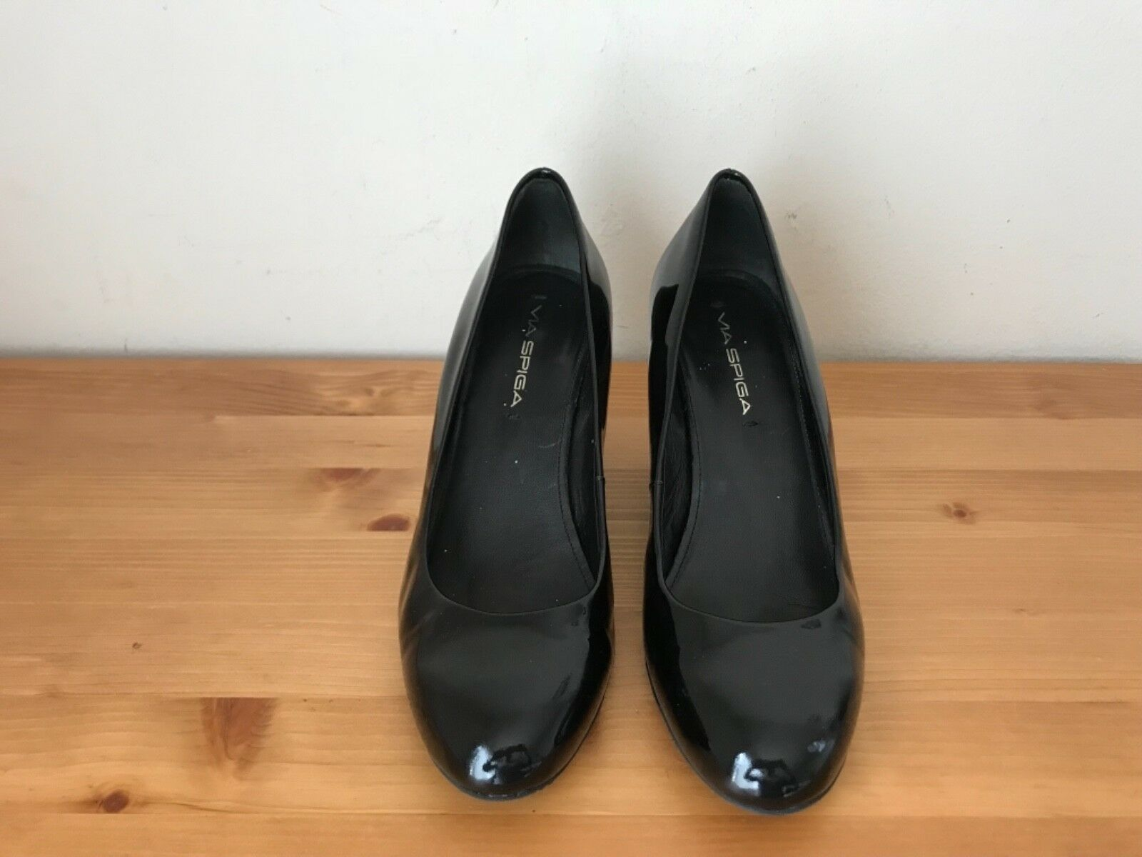 a2e2da4557b VIA SPIGA black patent leather wedge pumps sz 7M shoes ntmunr1178 ...