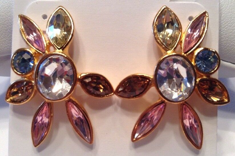 Vintage CHRISTIAN LACROIX Jewelry Coloured Crystal Pierced Earrings gold Plated