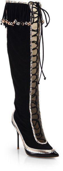 Sophia Webster Zina Suede Fringe Lace-Up Knee-High Boots 36 MSRP   1,795