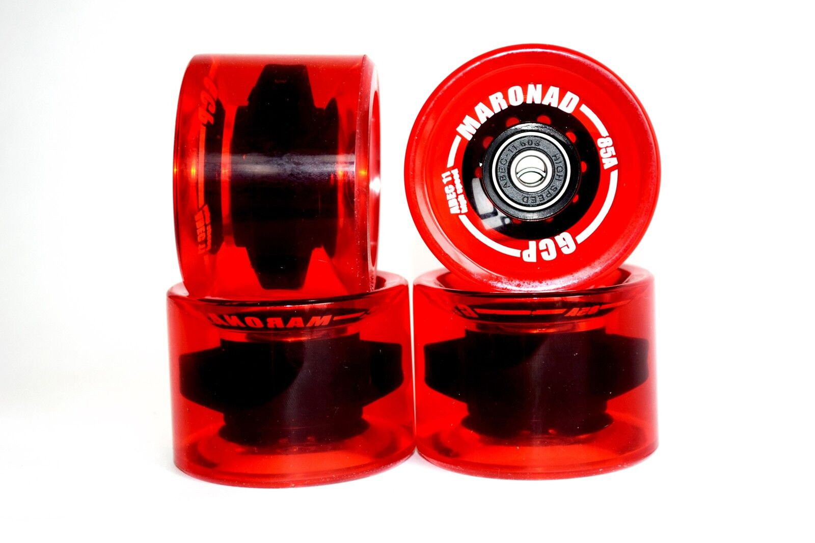 4 Pcs Longboard Wheels Wheels in Red 70x50mm 85a Includes Abec 11 and Spacers
