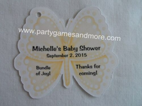 BIRTHDAY PARTY FAVOR GIFT TAG SO CUTE UNIQUE PERSONALIZED BUTTERFLY BABY SHOWER