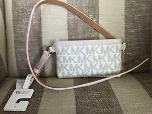54570b7d8abb2 Michael Kors MK Signature Logo Belt Wallet Fanny Pack Waist XL Bag ...